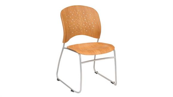 Stacking Chairs Safco Office Furniture Guest Chair Round Plastic Wood Back (Qty. 2)