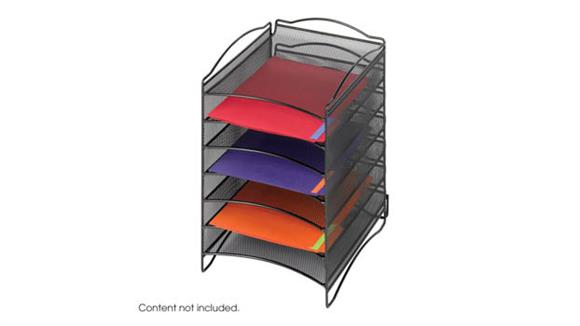 Desk Organizers Safco Office Furniture Onyx™ 6 Compartment Mesh Literature Organizer