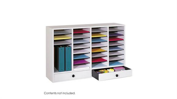 Magazine & Literature Storage Safco Office Furniture Wood 32 Compartment 2 Drawer Literature Organizer