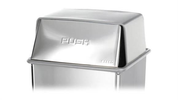 Waste Baskets Safco Office Furniture Stainless Steel Push-Top Lid for 36-Galllon Base