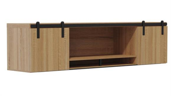 "Hutches Safco Office Furniture 66"" Wall-Mounted Hutch with Sliding Wood Doors"