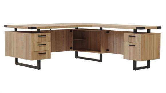 """L Shaped Desks Safco Office Furniture 66""""W x 84""""D L-Shaped Desk, BBB/BF Pedestals"""