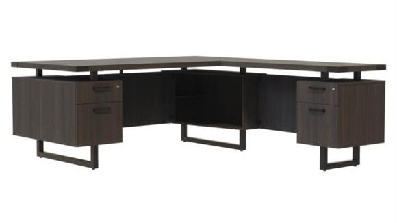 "L Shaped Desks Safco Office Furniture 66""W x 84""D L-Shaped Desk, BF/BF Pedestals"