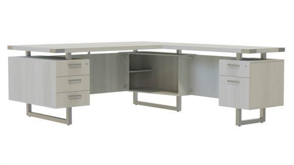 """L Shaped Desks Safco Office Furniture 66"""" x 72"""" L-Shaped Desk, BBB/BF Pedestals"""