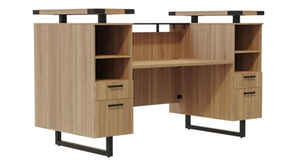 "Reception Desks Safco Office Furniture 90""W Reception Desk with Glass Countertop"