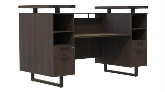 "Reception Desks Safco Office Furniture 90""W Reception Desk with Glass Countertop"