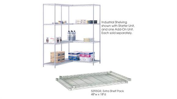 """Shelving Safco Office Furniture Industrial Extra Shelf Pack, 48"""" x 18"""" (Qty. 2)"""