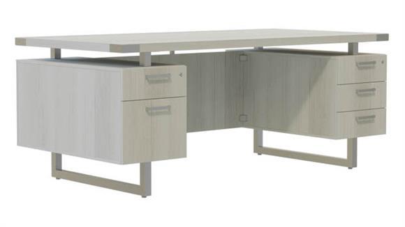 "Computer Desks Safco Office Furniture 72""W x 30""D Desk with BBB/BF Pedestals"
