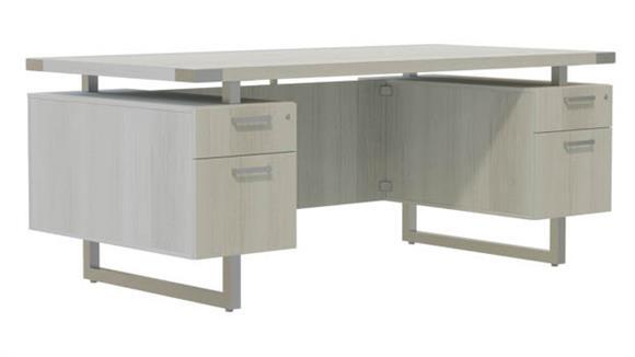 "Computer Desks Safco Office Furniture 66""W x 36""D Desk with BBB/BF Pedestals"