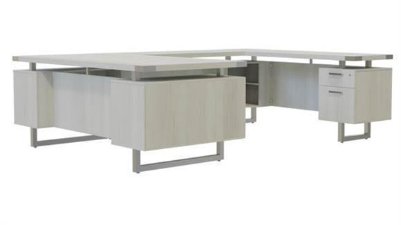 """U Shaped Desks Safco Office Furniture 66""""W x 104""""D U-Shaped Desk, BF/BF Pedestals"""