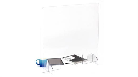 Covid19 Office Sneeze Guards Safco Office Furniture Portable Freestanding All-Acrylic Sneeze Guard with Document Pass-Through