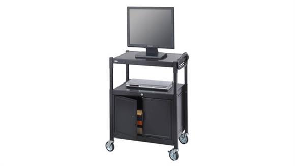 AV Carts Safco Office Furniture Steel Adjustable AV Cart With Cabinet