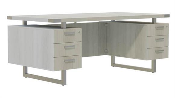 "Computer Desks Safco Office Furniture 66""W x 30""D Desk with BBB/BBB Pedestals"