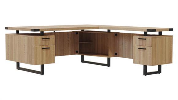"""L Shaped Desks Safco Office Furniture 66""""W x 78""""D L-Shaped Desk, BF/BF Pedestals"""