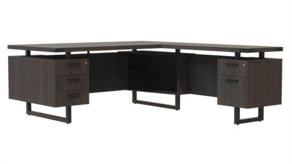"""L Shaped Desks Safco Office Furniture 72"""" x 72"""" L-Shaped Desk, BBB/BF Pedestals"""