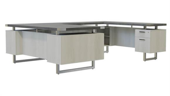 """U Shaped Desks Safco Office Furniture 66""""W x 98""""D U-Shaped Desk, BF/BF Pedestals"""