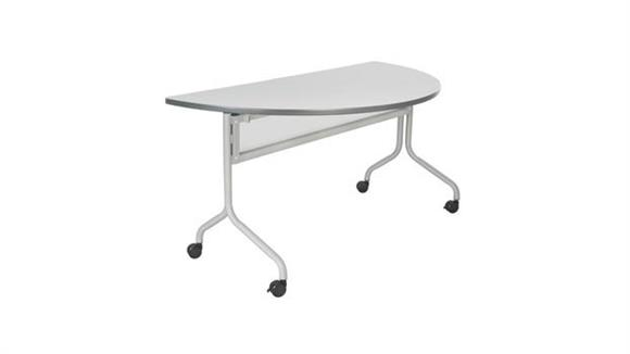 """Training Tables Safco Office Furniture 48"""" x 24"""" Mobile Training Table, Half Round"""