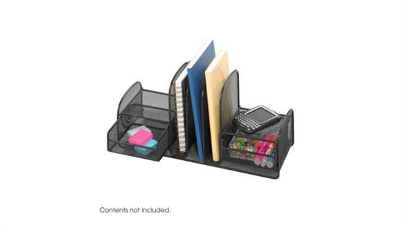 Desk Organizers Safco Office Furniture Onyx™ Three Upright Sections/Two Baskets
