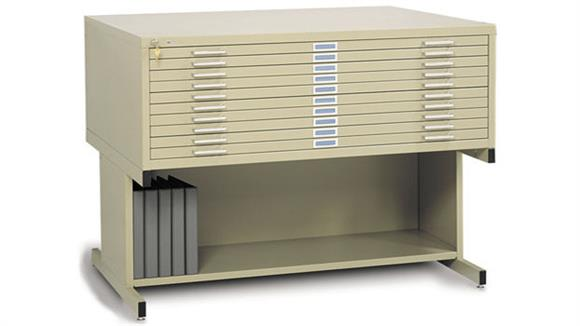 """Flat File Cabinets Safco Office Furniture 43""""W 10 Drawer Steel Flat File with Base"""