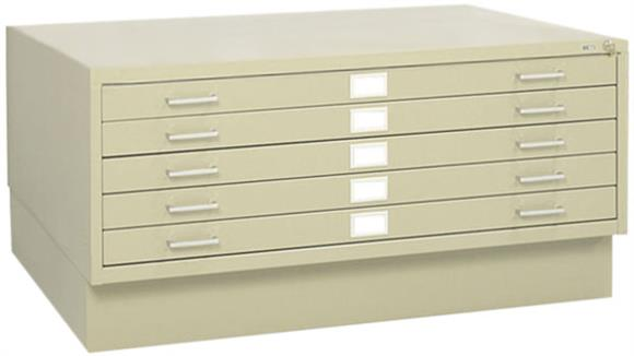 "Flat File Cabinets Safco Office Furniture 43""W 5 Drawer Steel Flat File with Base"