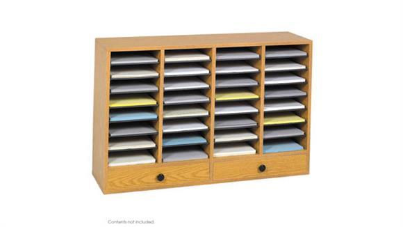 Magazine & Literature Storage Safco Office Furniture Wood 32 Compartment 2 Drawer Literature Organizer