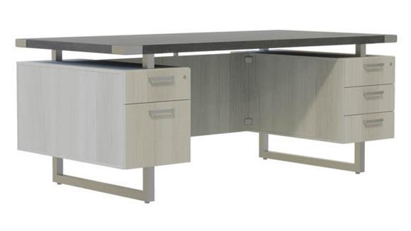 "Computer Desks Safco Office Furniture 72""W x 36""D Desk with BBB/BF Pedestals"