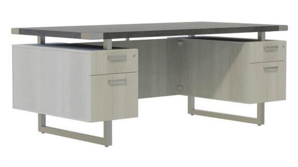 """Computer Desks Safco Office Furniture 66"""" x 30"""" Desk, BF/BF Pedestals"""