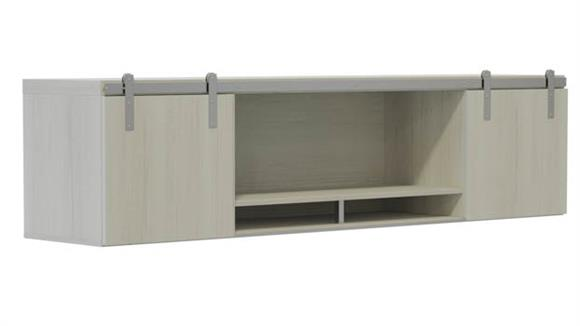 """Hutches Safco Office Furniture 72"""" Wall-Mounted Hutch with Sliding Wood Doors"""