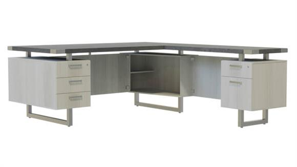 """L Shaped Desks Safco Office Furniture 66""""W x 78""""D L-Shaped Desk, BBB/BF Pedestals"""
