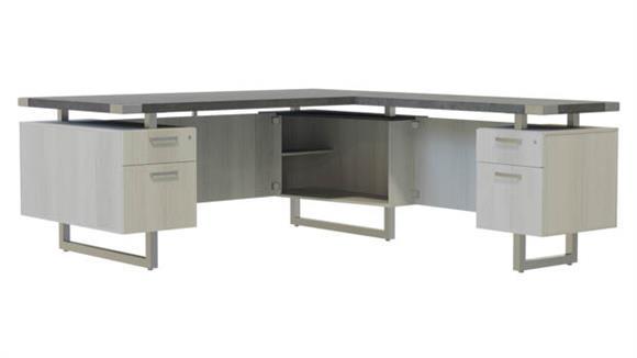 """L Shaped Desks Safco Office Furniture 66"""" x 78"""" L-Shaped Desk, BF/BF Pedestals"""