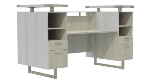 "Reception Desks Safco Office Furniture 78""W Reception Desk with Glass Countertop"
