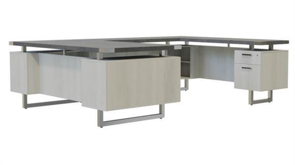 """U Shaped Desks Safco Office Furniture 72"""" x 98"""" U-Shaped Desk, BBB/BF Pedestals"""