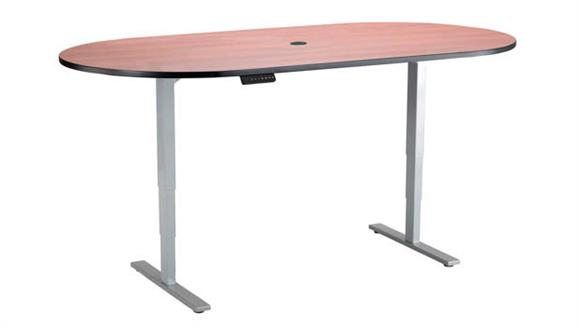 "Adjustable Height Tables Safco Office Furniture Electric Height-Adjustable Teaming Table, Racetrack - 84"" x 42"""