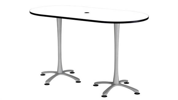 """Pub & Bistro Tables Safco Office Furniture 72""""x36"""", Racetrack Table, Bistro-Height"""