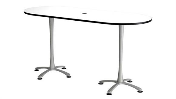 """Pub & Bistro Tables Safco Office Furniture 84""""x36"""", Racetrack Table, Bistro-Height"""