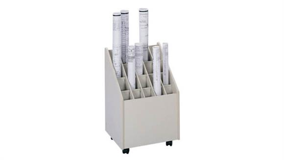 Media Storage Safco Office Furniture Mobile Roll File, 20 Compartment