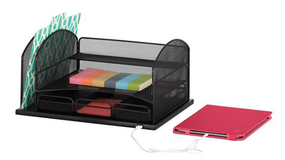 Desk Organizers Safco Office Furniture Powered Onyx™ Organizer With 3 Drawers