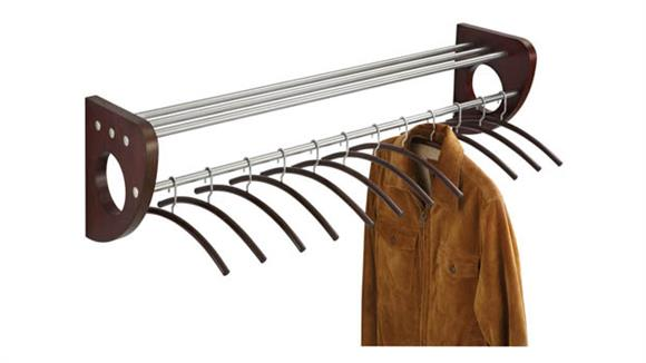 "Coat Racks Safco Office Furniture 48"" Wood Wall Coat Rack With Hangers"