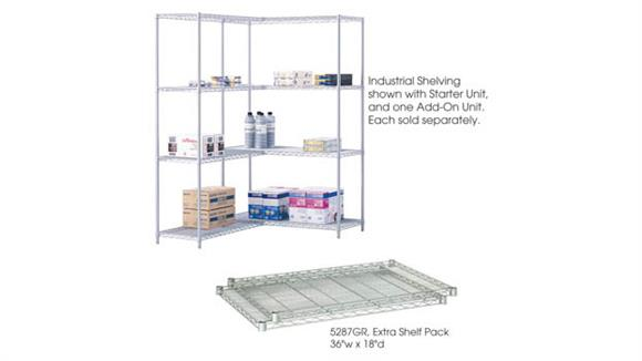 """Shelving Safco Office Furniture Industrial Extra Shelf Pack, 36"""" x 18"""" (Qty. 2)"""