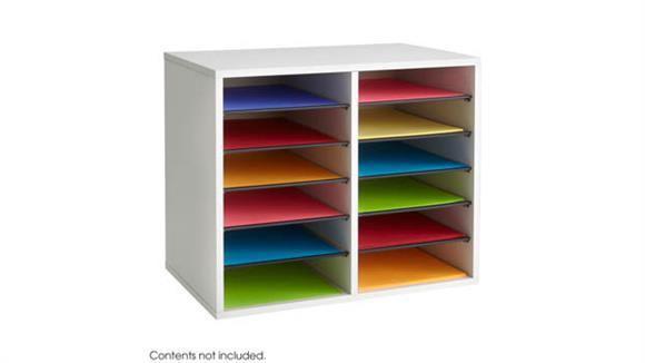 Desk Organizers Safco Office Furniture Wood Adjustable Literature Organizer - 12 Compartment