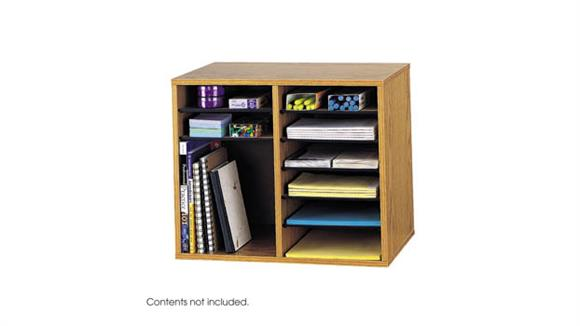 Desk Organizers Safco Office Furniture Wood Adjustable Literature Organizer - 12 Compartment