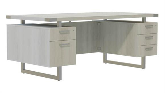 "Computer Desks Safco Office Furniture 66""W x 30""D Desk with BBB/BF Pedestals"
