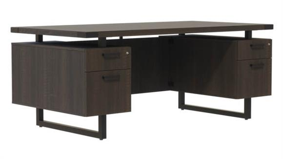 "Computer Desks Safco Office Furniture 66""W x 36""D Desk with BBB/BF Pedestals"