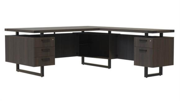 "L Shaped Desks Safco Office Furniture 72""W x 78""D L-Shaped Desk, BBB/BF Pedestals"