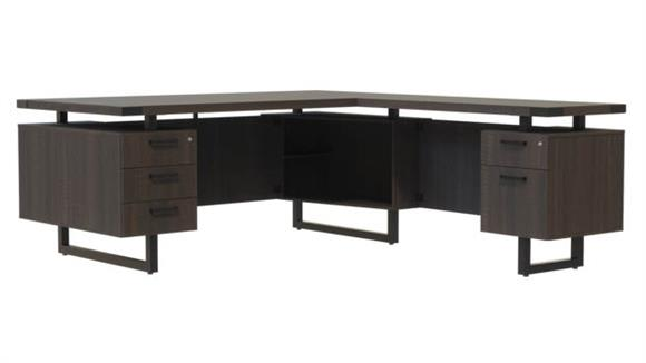 "L Shaped Desks Safco Office Furniture 66"" x 72"" L-Shaped Desk, BBB/BF Pedestals"