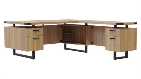"""L Shaped Desks Safco Office Furniture 66"""" x 72"""" L-Shaped Desk, BF/BF Pedestals"""