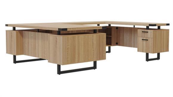 """U Shaped Desks Safco Office Furniture 66"""" x 98"""" U-Shaped Desk, BBB/BF Pedestals"""