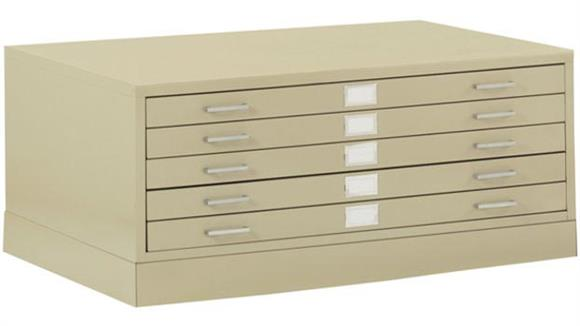 "Flat File Cabinets Sandusky Lee 41""W 5 Drawer Flat File with Closed Base"