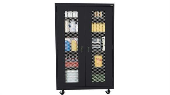 "Storage Cabinets Sandusky Lee 46""W x 24""D x 78""H  Mobile Expanded Metal Front Storage Cabinet"