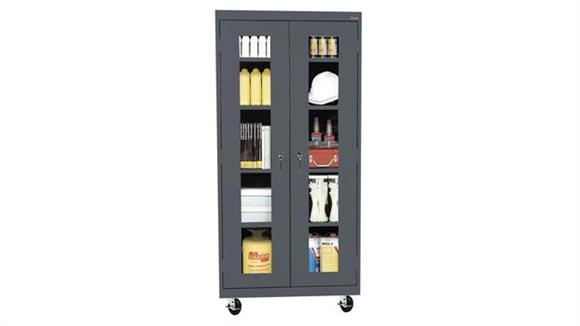 """Storage Cabinets Sandusky Lee 46""""W x 24""""D x 78""""H  Mobile Clear View Cabinet"""